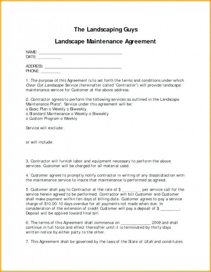 Landscape Service Contract Template
