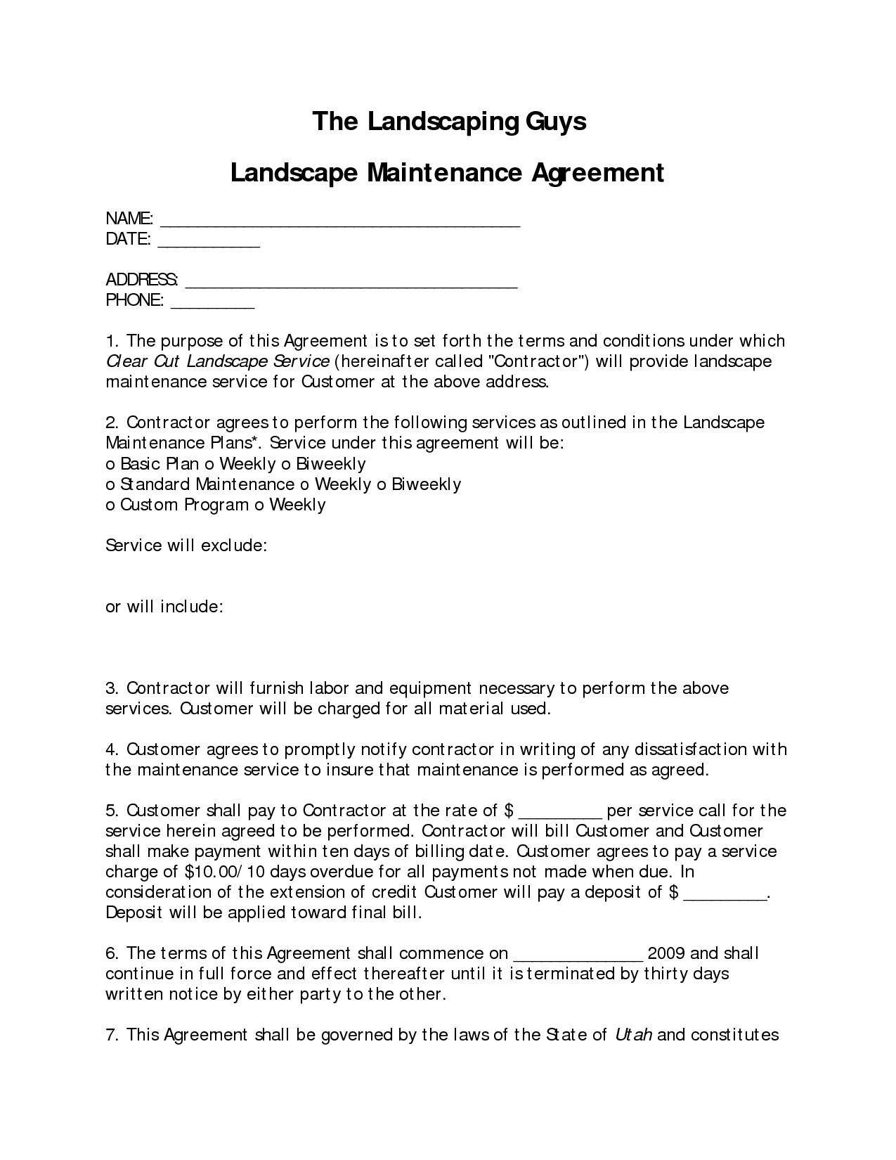 Landscaping Contract Sample Template