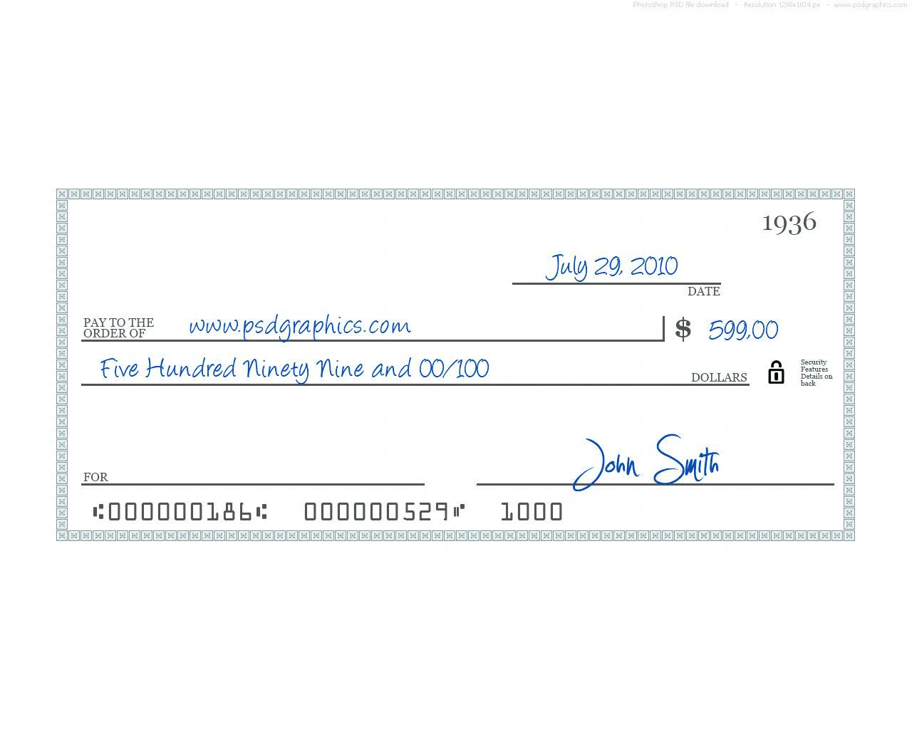 Large Fake Check Template