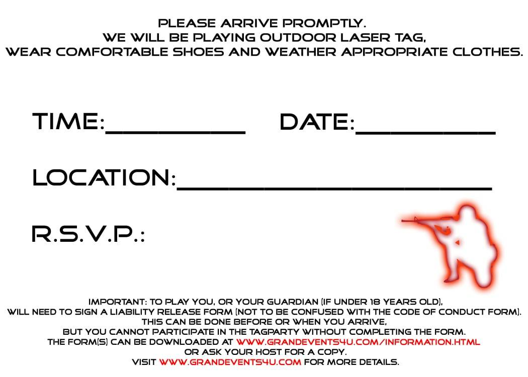 Laser Tag Birthday Party Invitation Template Free