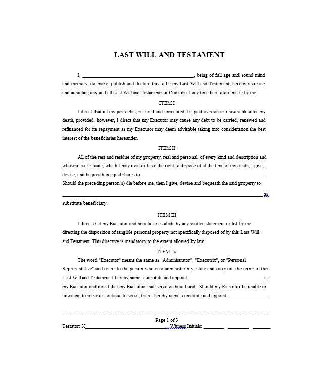 Last Testament And Will Template Free