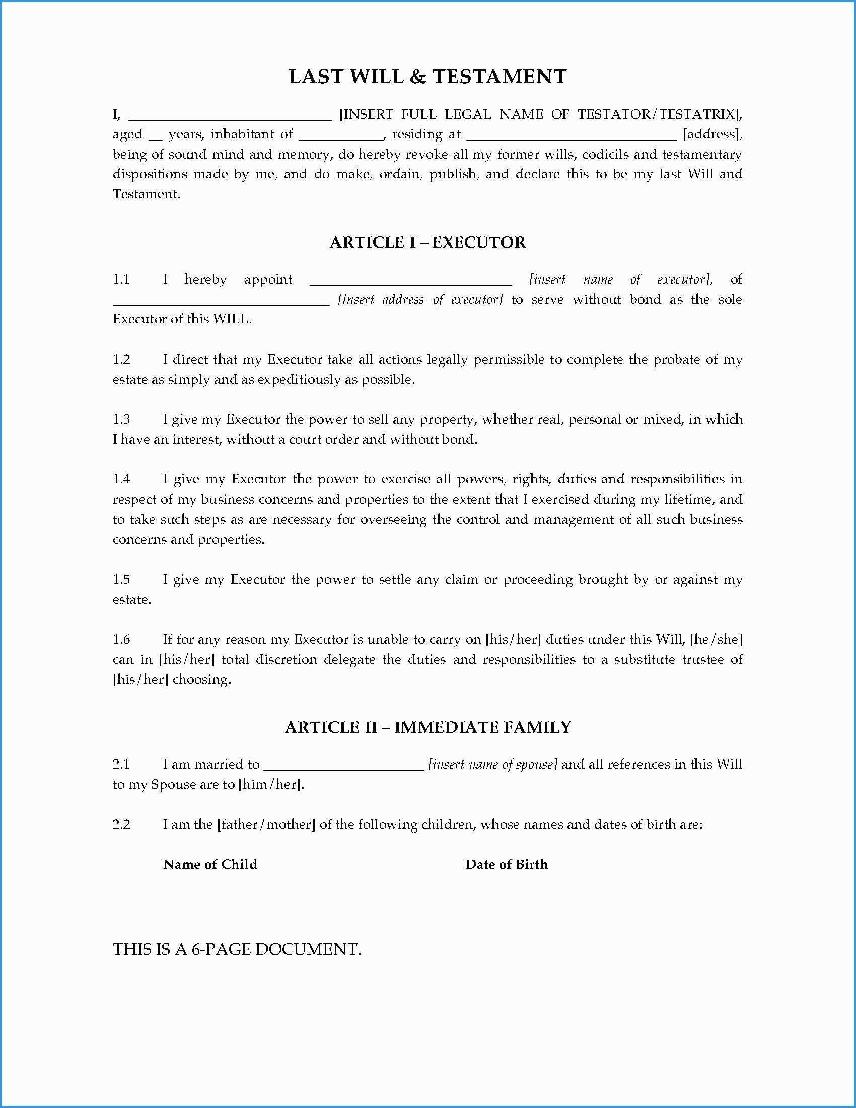 Last Will And Testament Free Template Tennessee