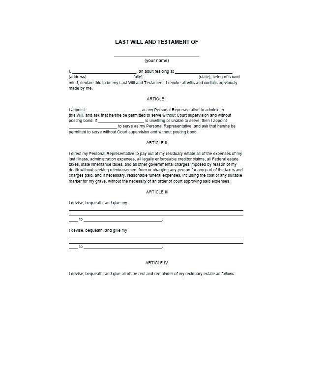 Last Will And Testament Template Free Download South Africa