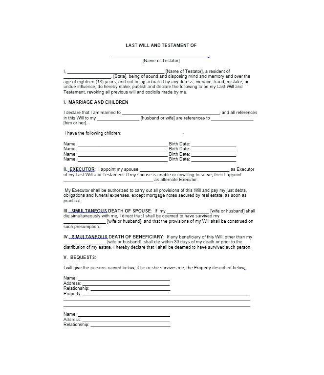 Last Will And Testament Template Free New Zealand