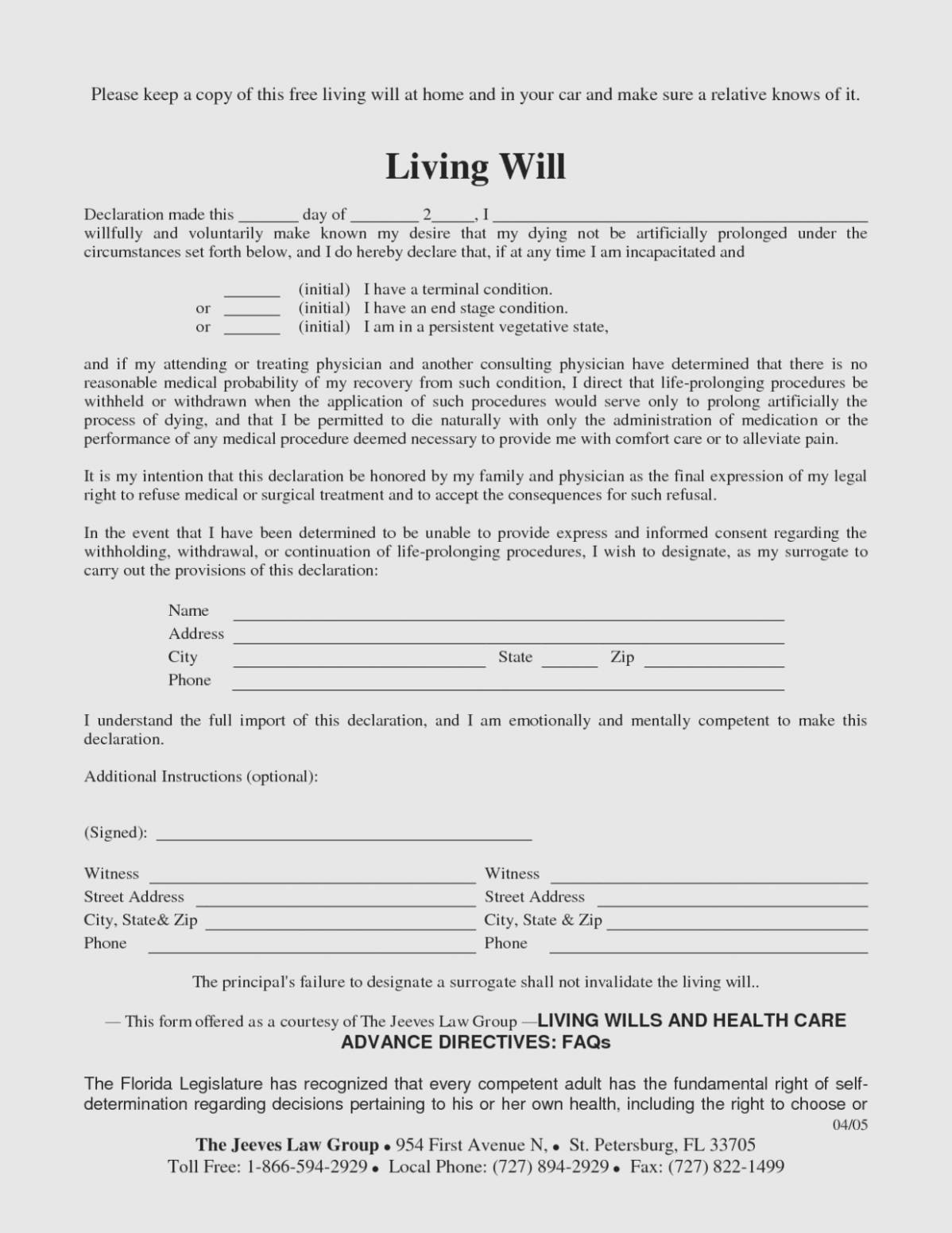Last Will And Testament Template Texas