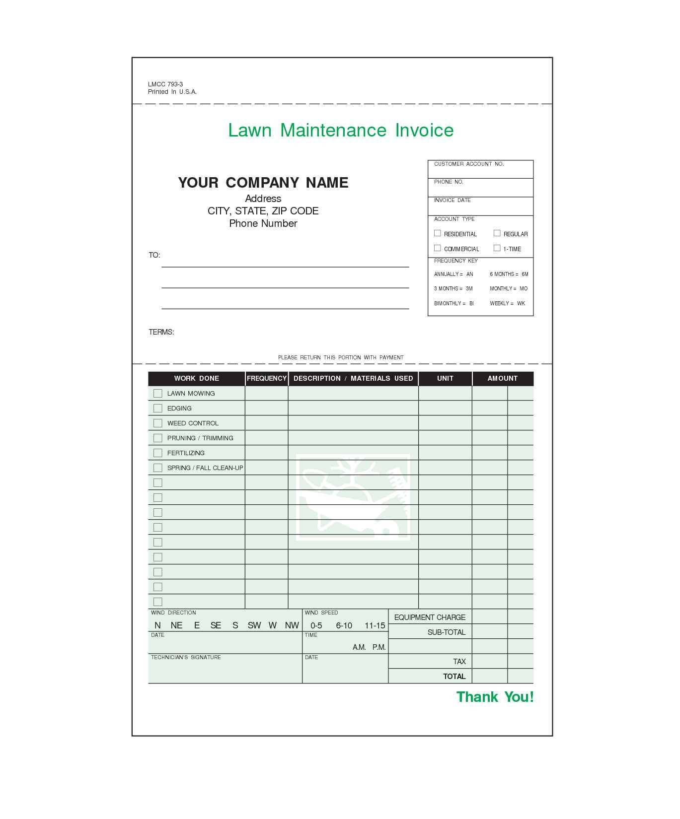 Lawn Care Invoice Template Excel