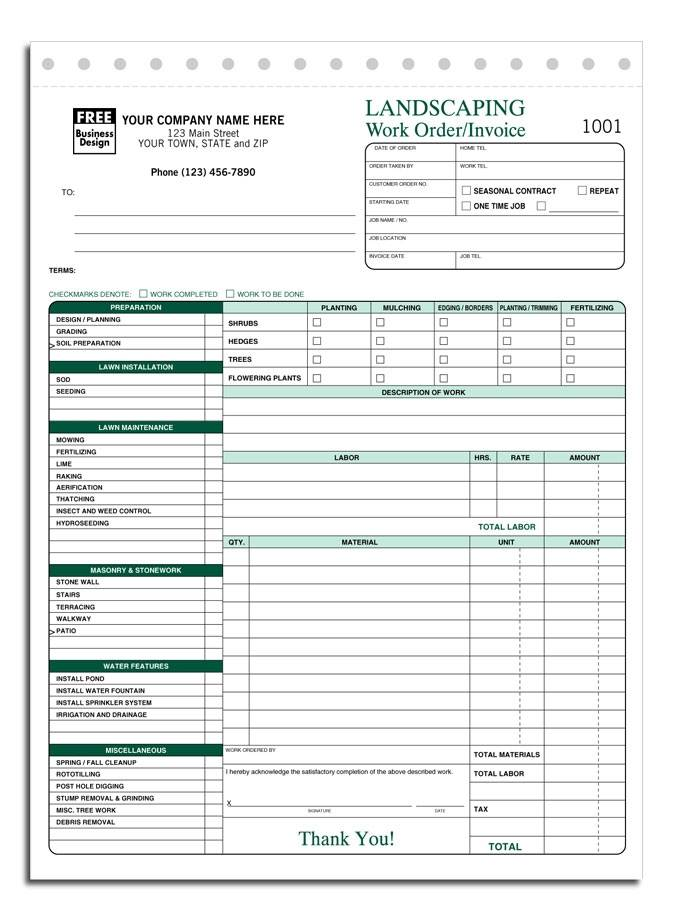 Lawn Service Invoice Template Excel