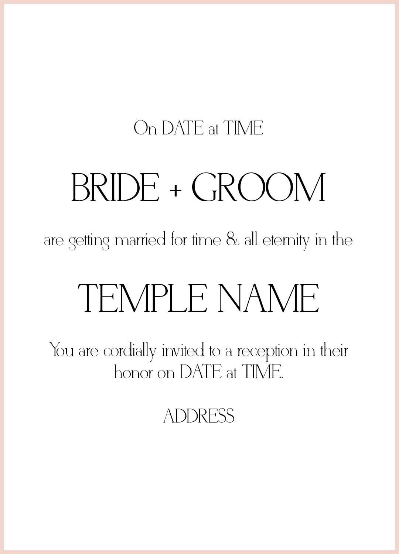 Lds Wedding Announcement Template