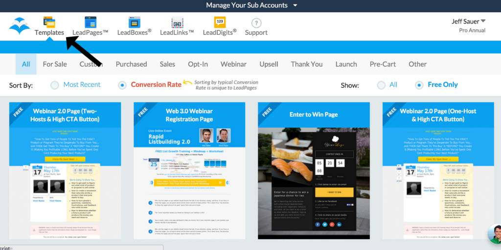 Leadpages Sales Page Templates