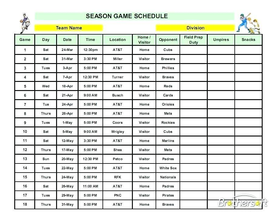 League Schedule Template Free