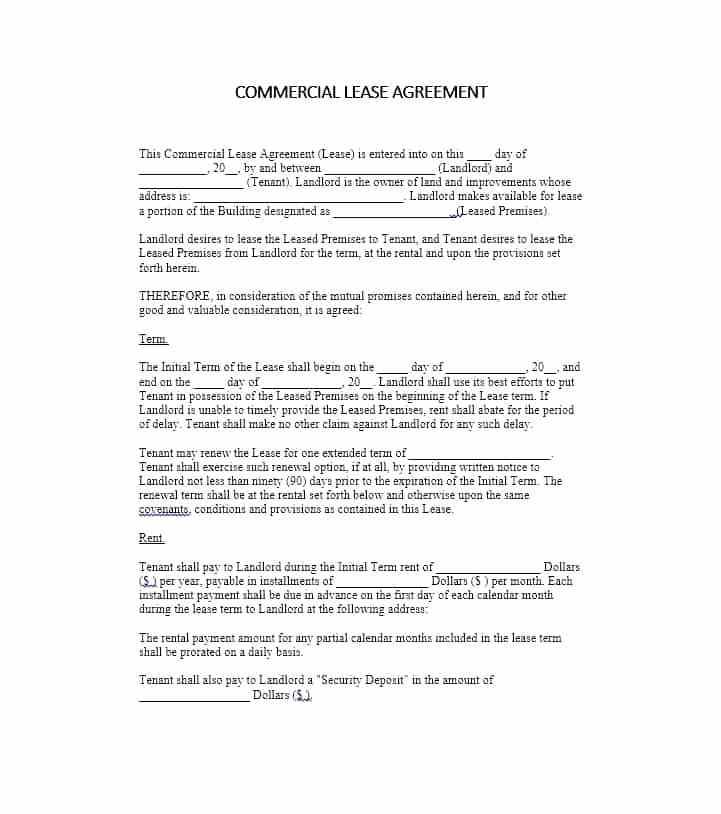 Lease Agreement For Office Space Sample