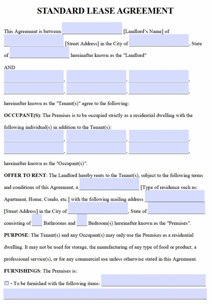Lease Agreement Form Word