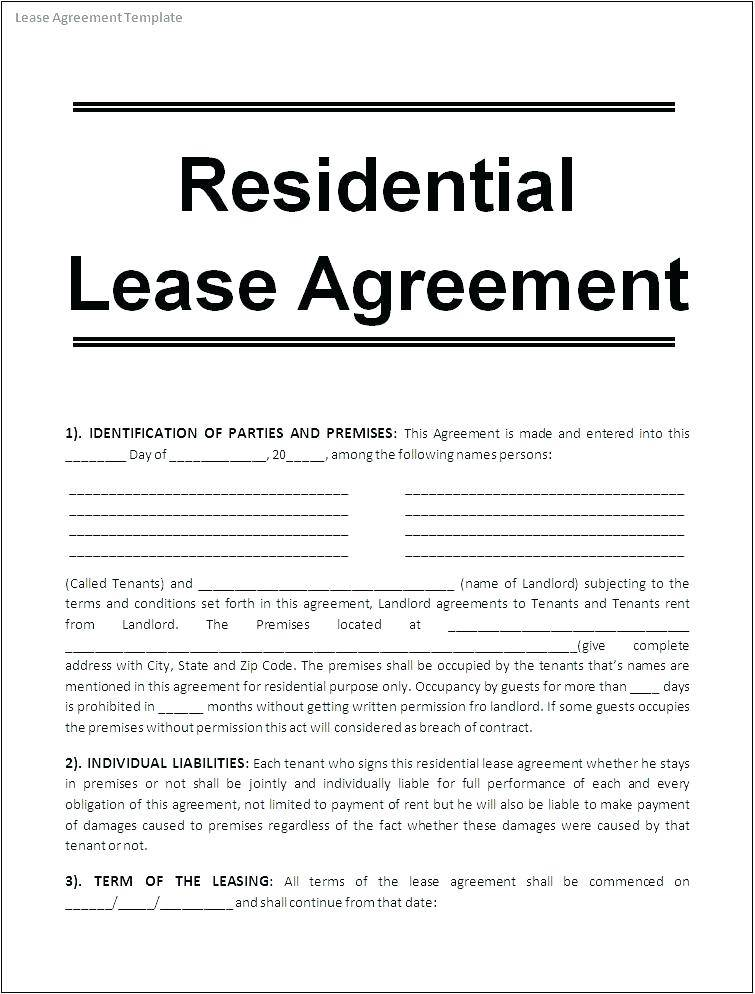 Lease Agreement Format Word