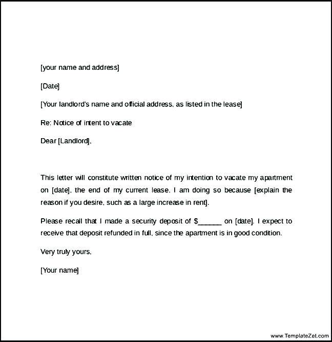 Lease Break Notice Letter Template