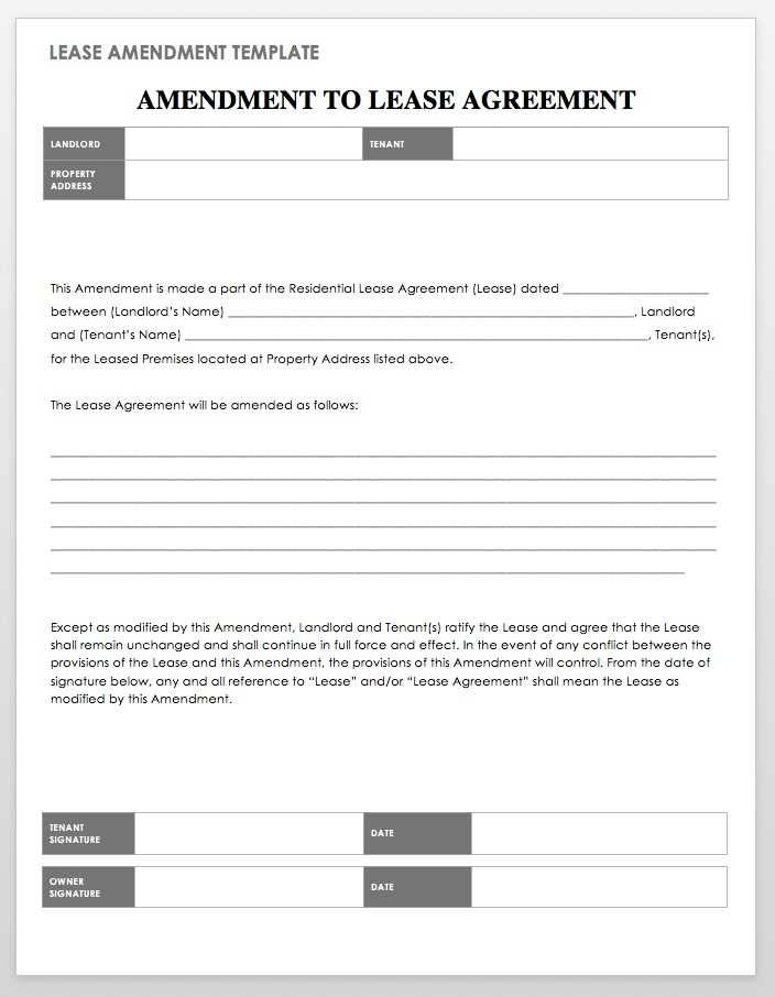 Lease Contract Amendment Template