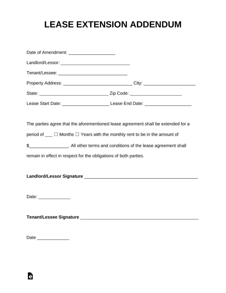 Lease Extension Agreement Sample Words