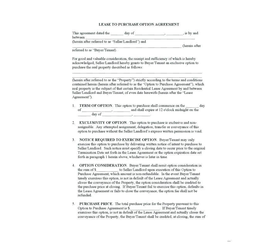 Lease Option Contract Template