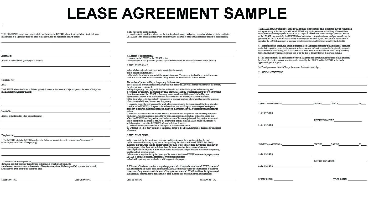 Lease Summary Template Word