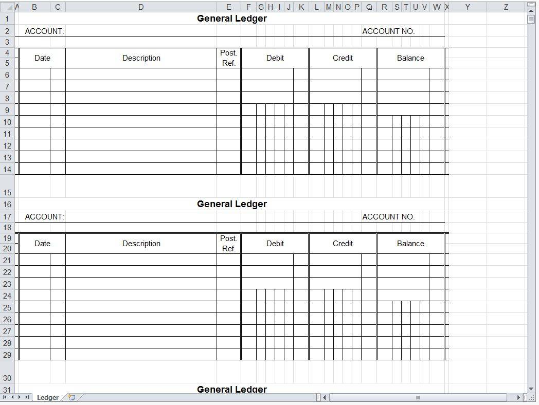 Ledger Spreadsheet Template Excel