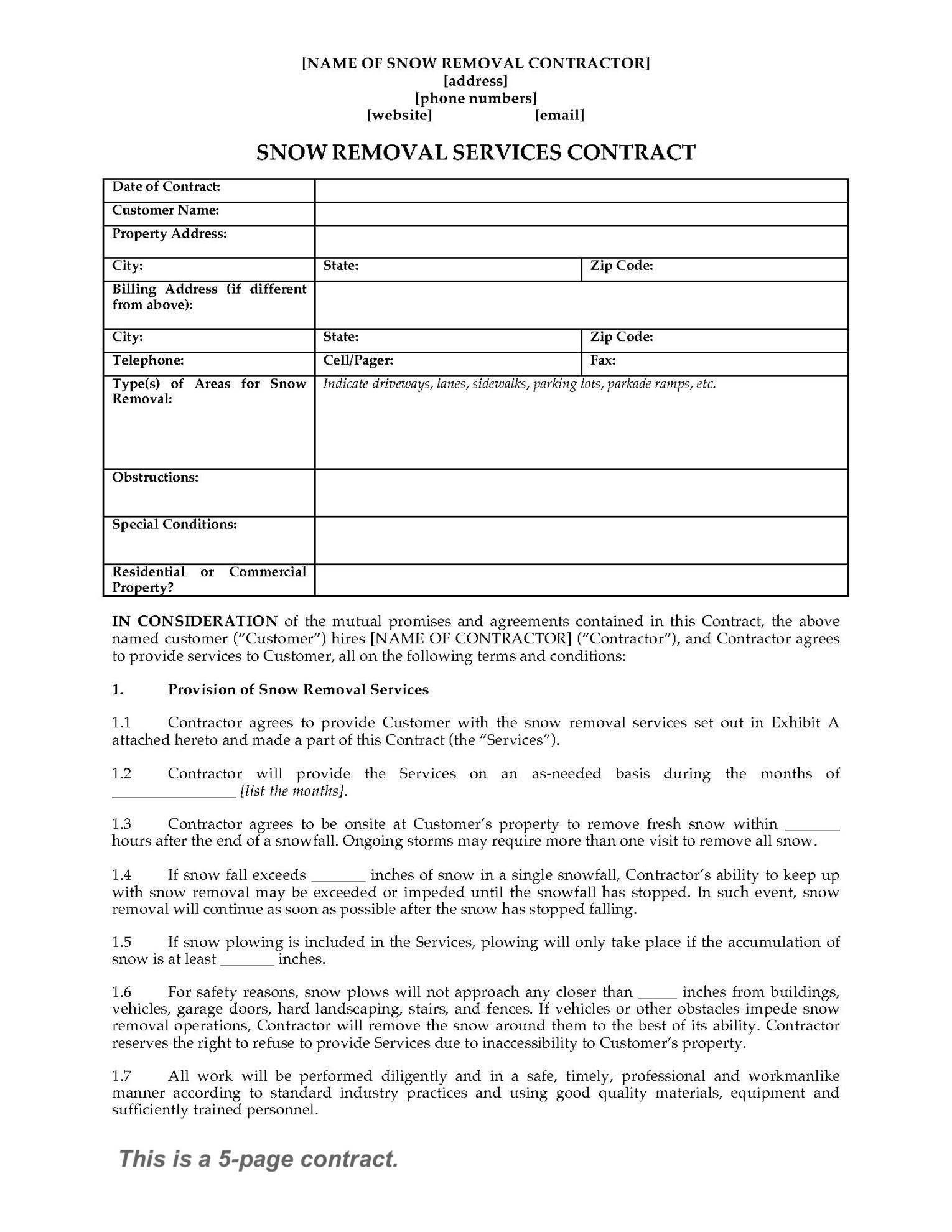 Legal Contracts Forms