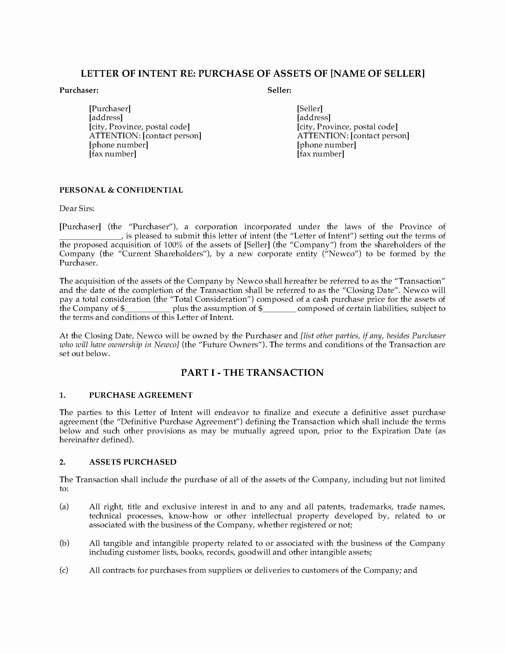 Legal Letter Of Intent Template
