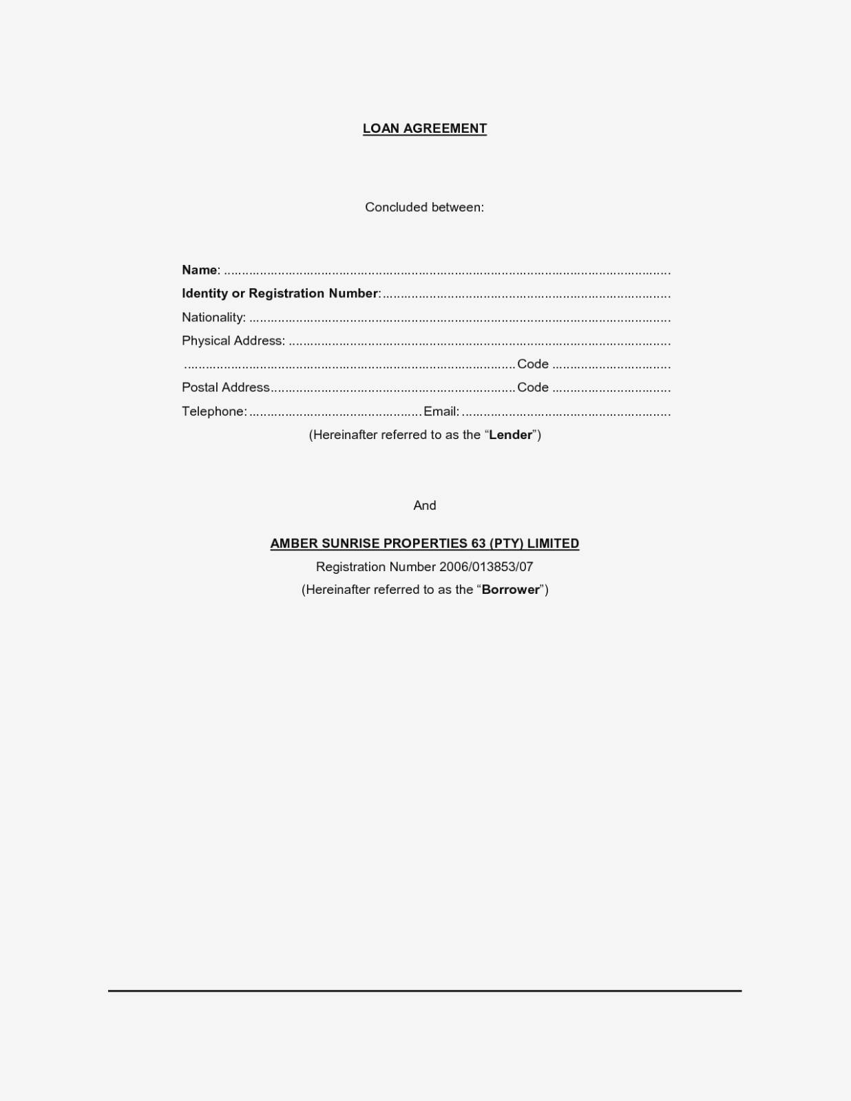 Legal Loan Agreement Template Free