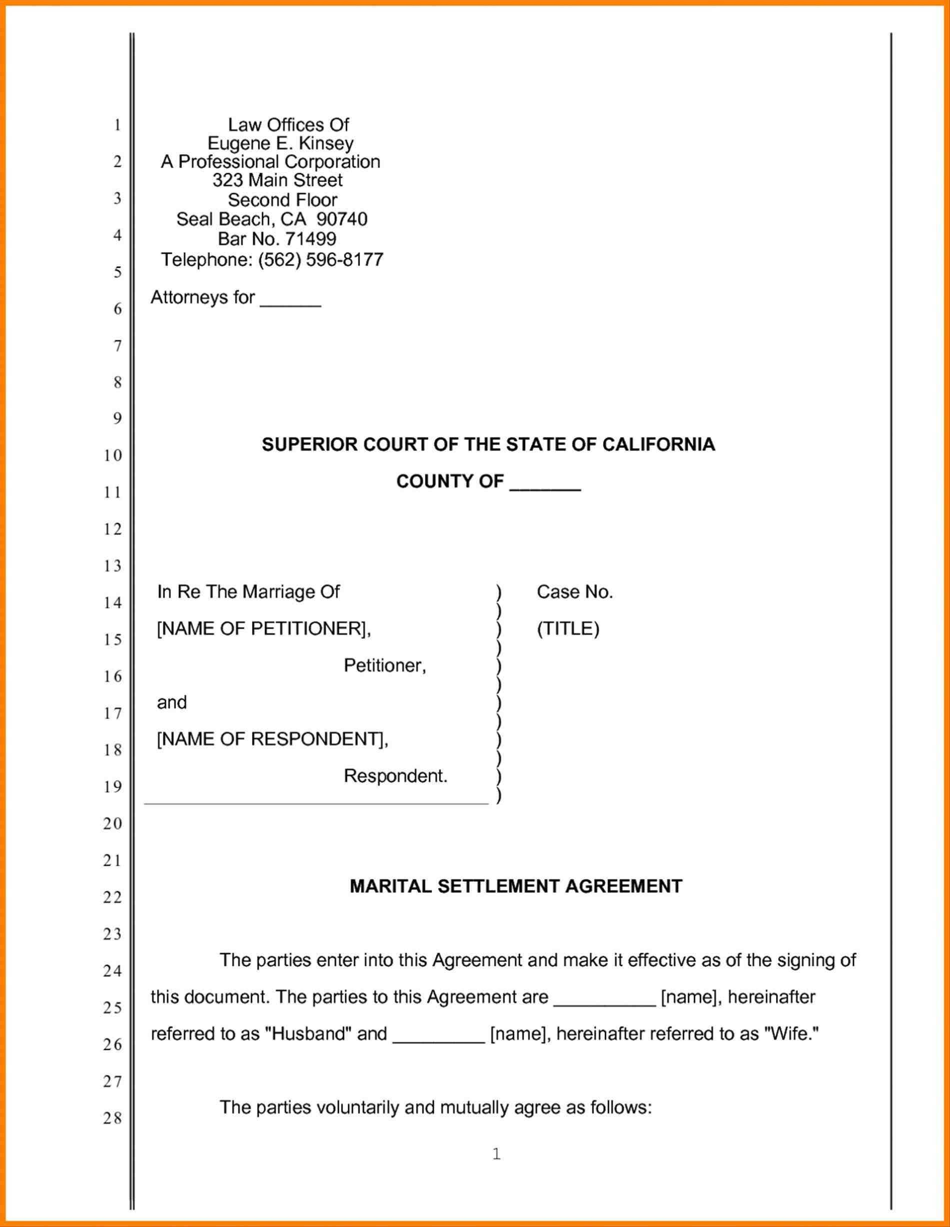 Legal Pleading Paper Template