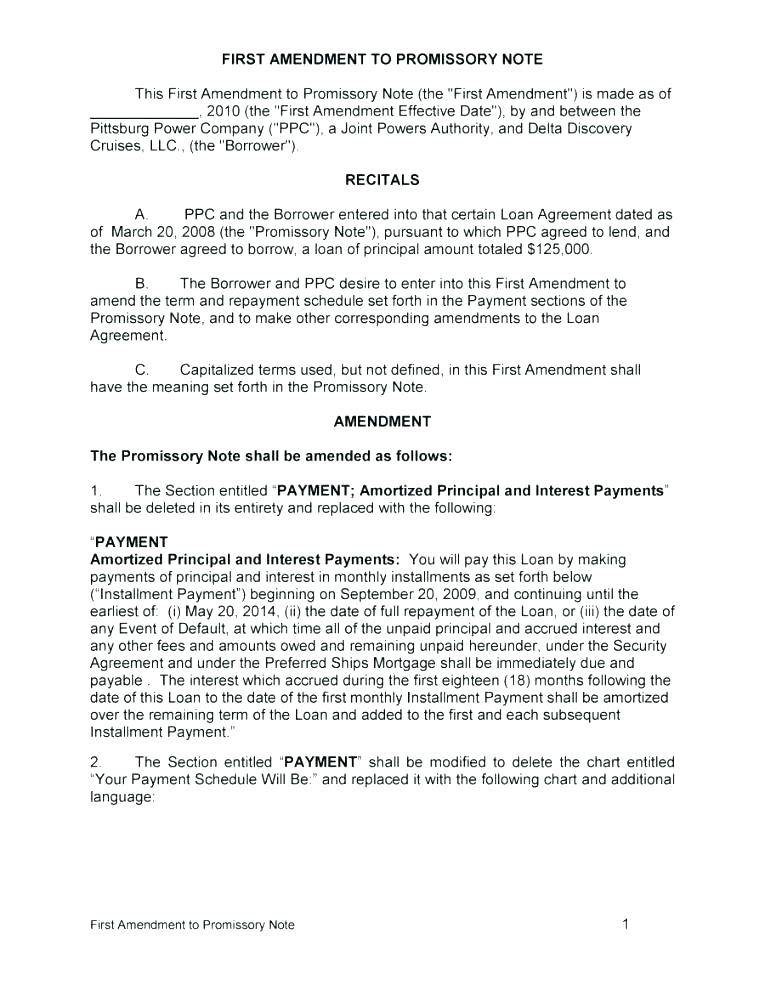 Legal Promissory Note Template