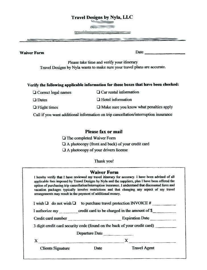 Legal Waiver Examples