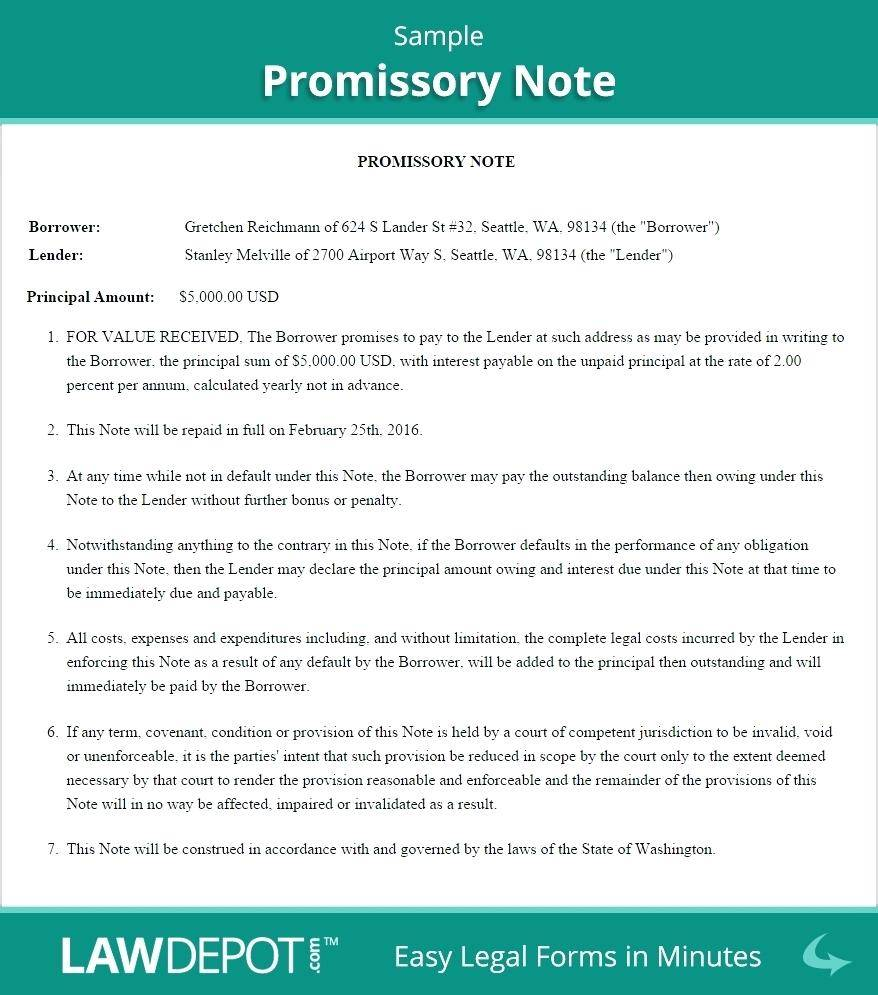 Legally Binding Promissory Note Template