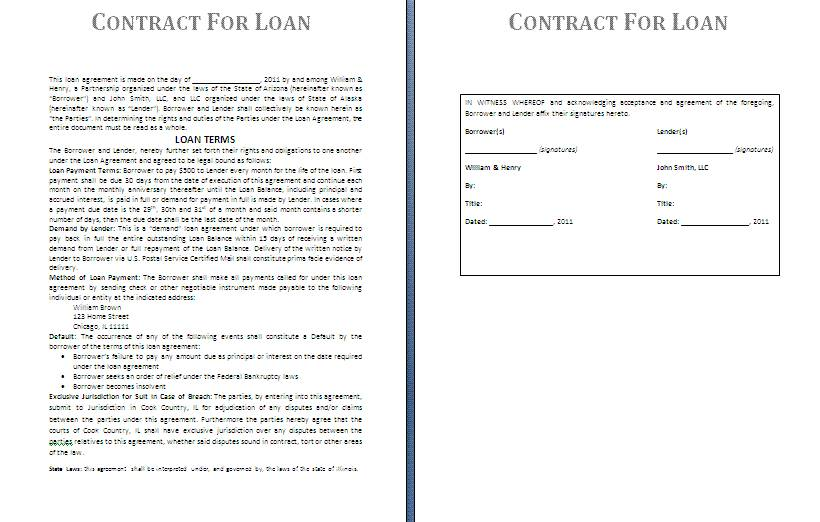 Lending Agreement Contract Template
