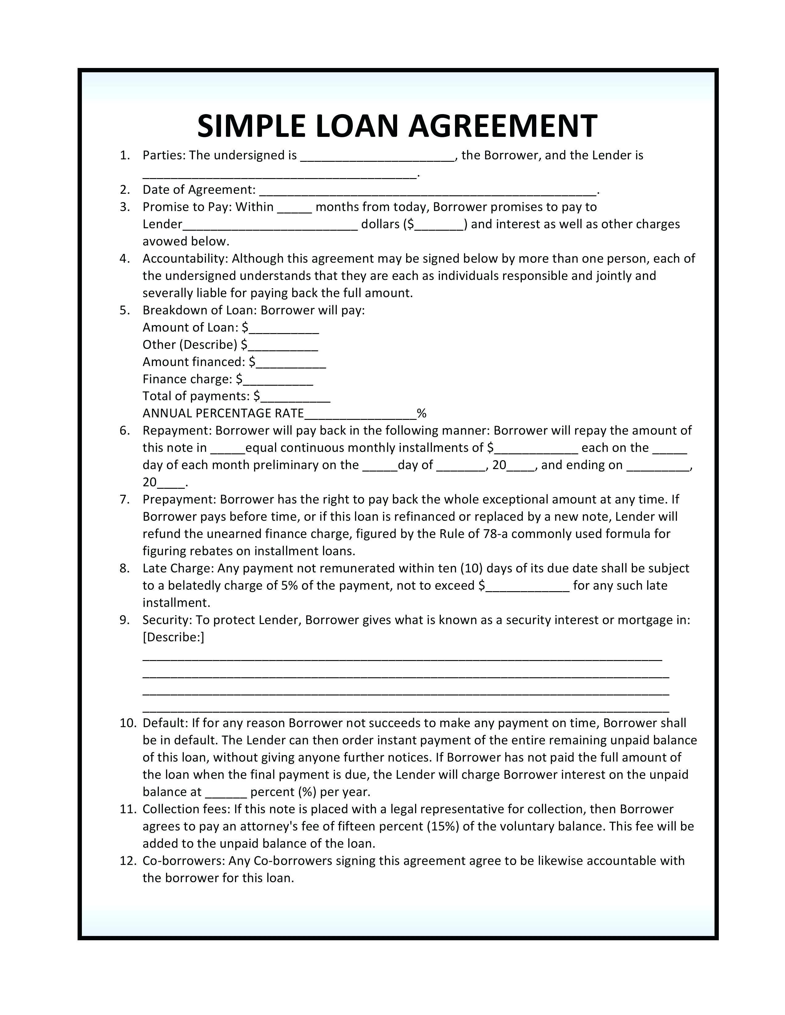 Lending Agreement Form