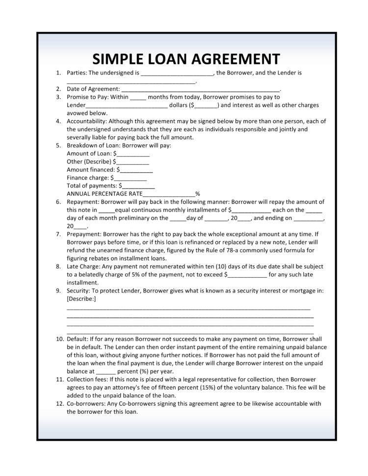 Lending Contract Format