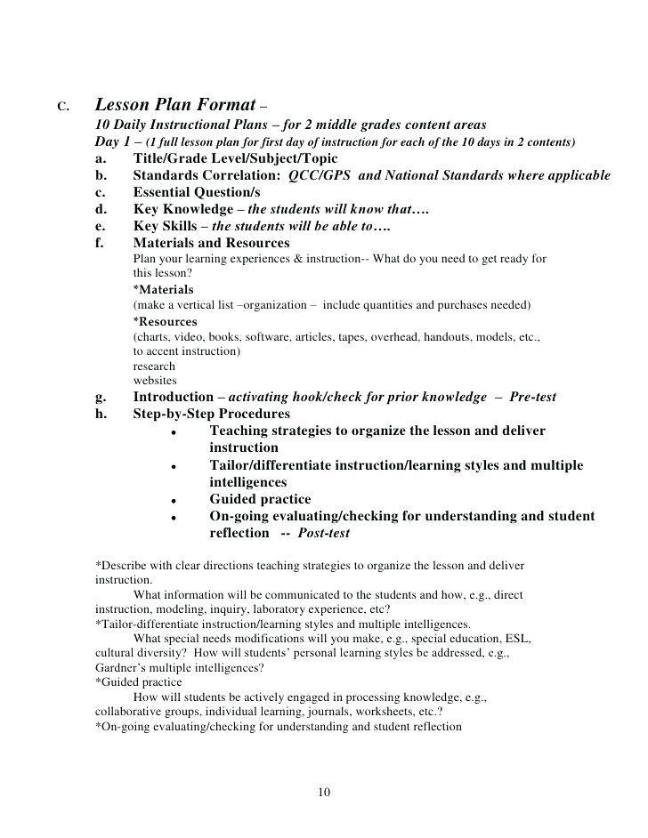 Lesson Plan Examples For Middle School Math