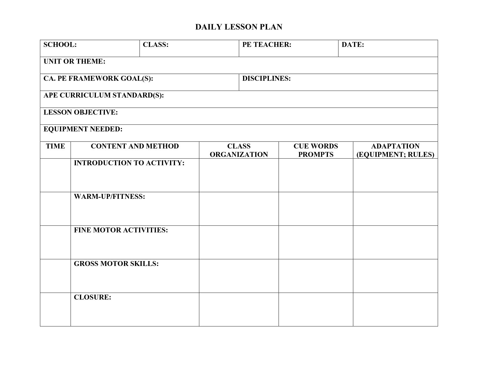 Lesson Plan Template For Pe Teachers