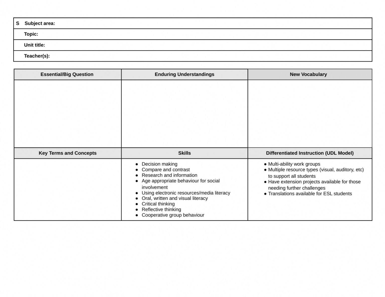 Lesson Plan Template For Pe