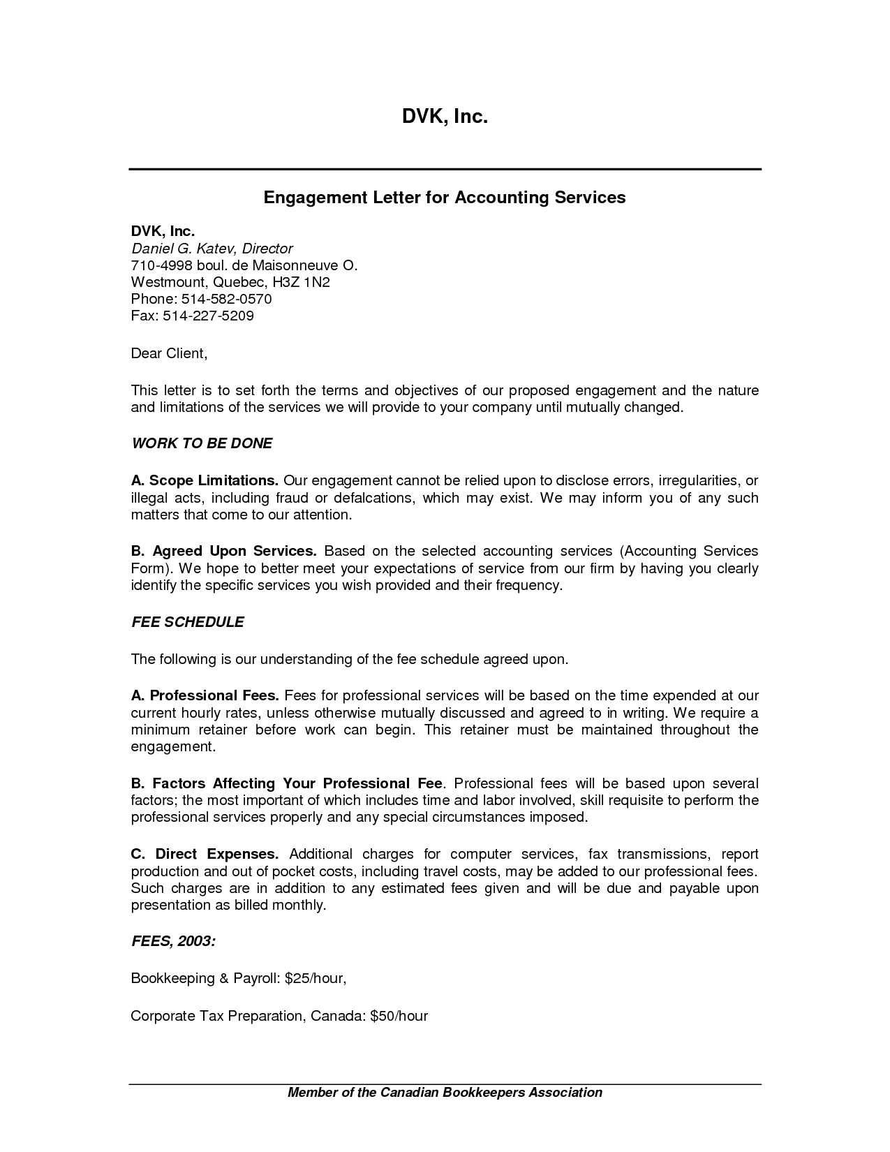 Letter Of Engagement Template Consultant Uk
