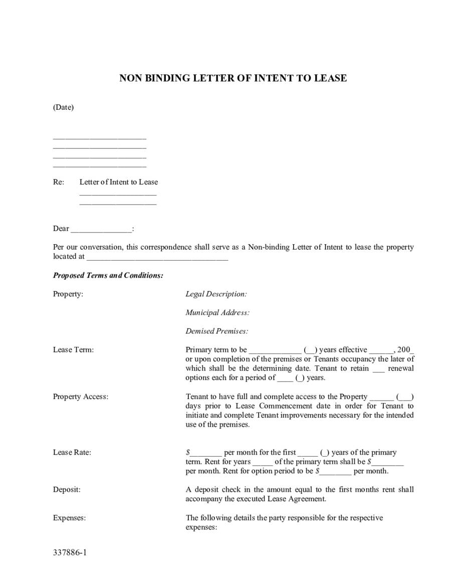 Letter Of Intent To Lease Commercial Property Template