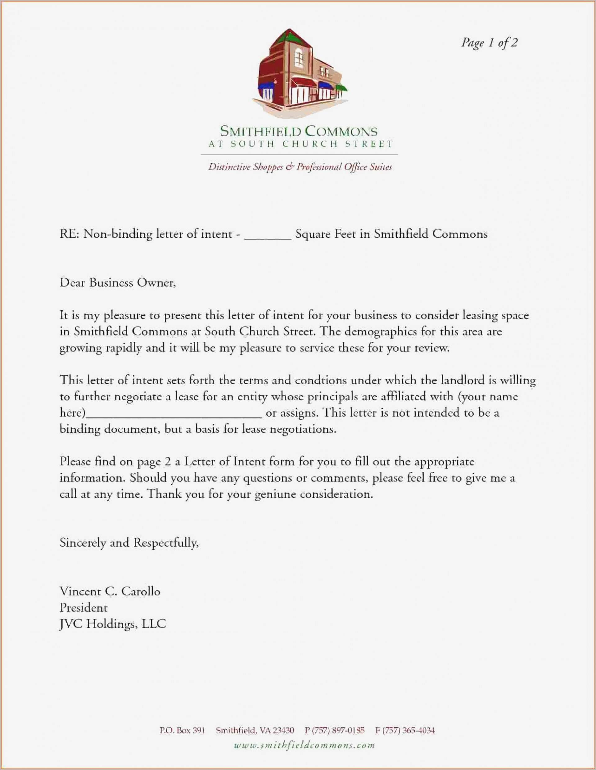 Letter Of Intent To Lease Template Free