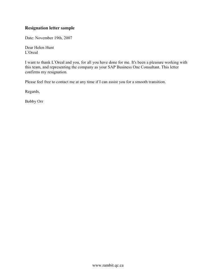 Letter Of Resignation Template Free Download