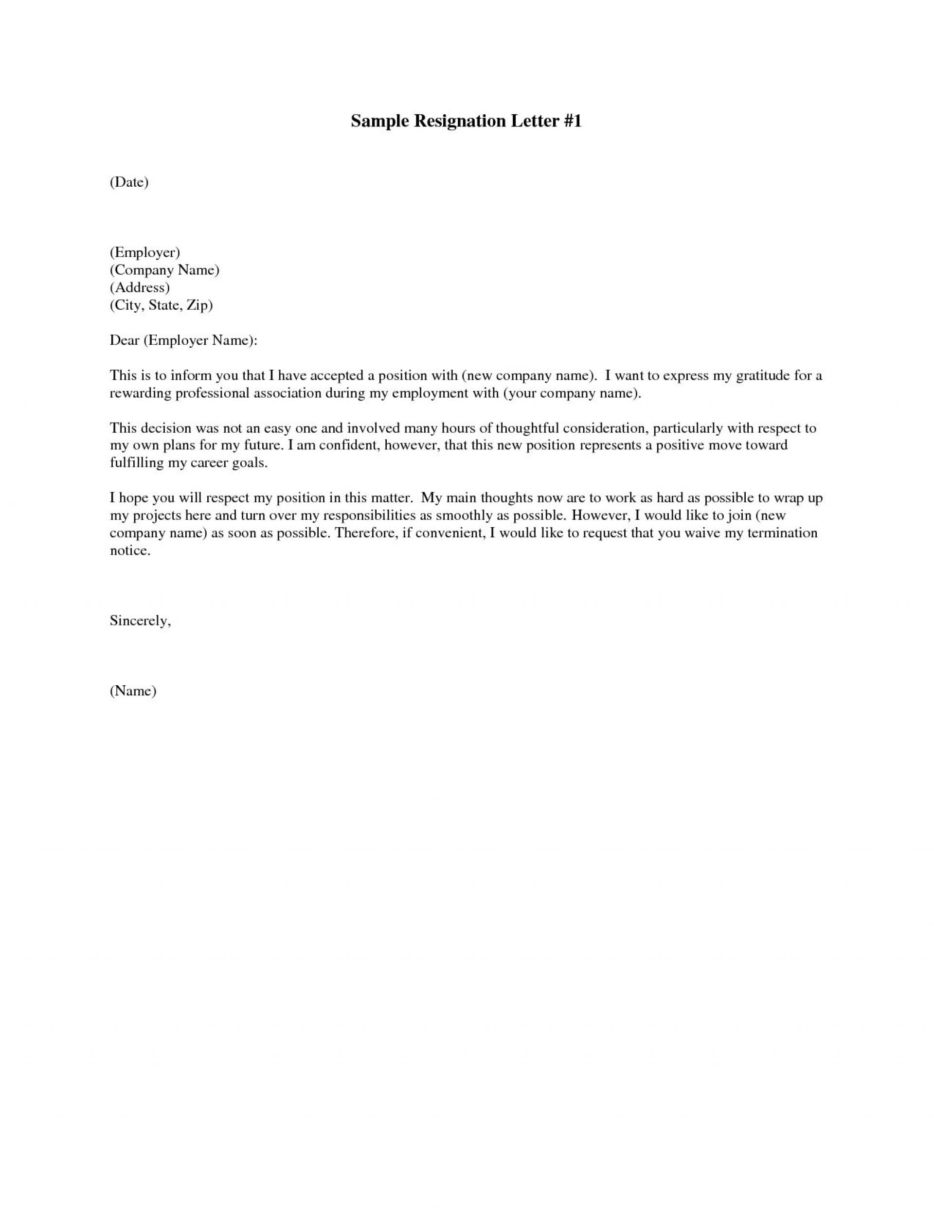 Letter Of Resignation Template Free