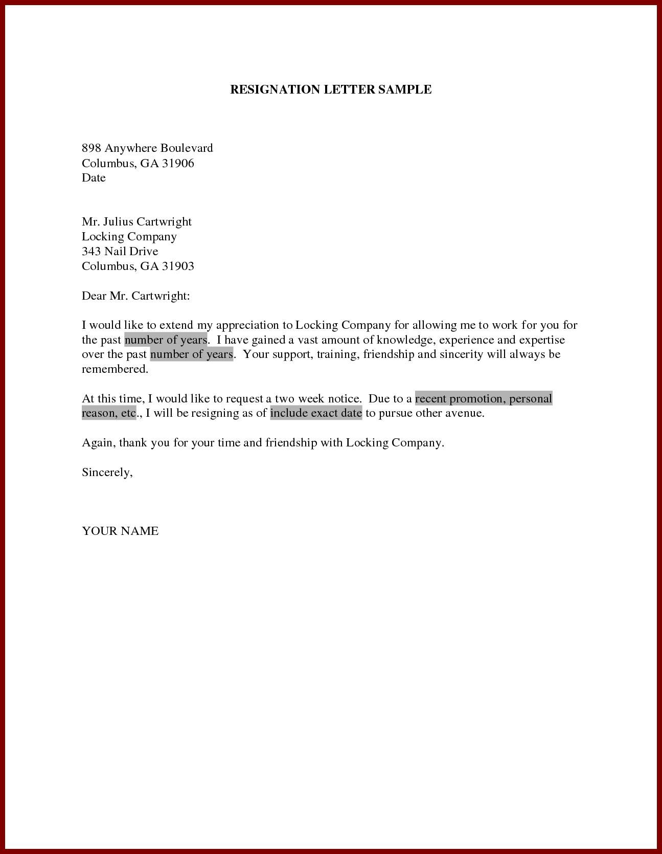 Letter Resignation Template Uk