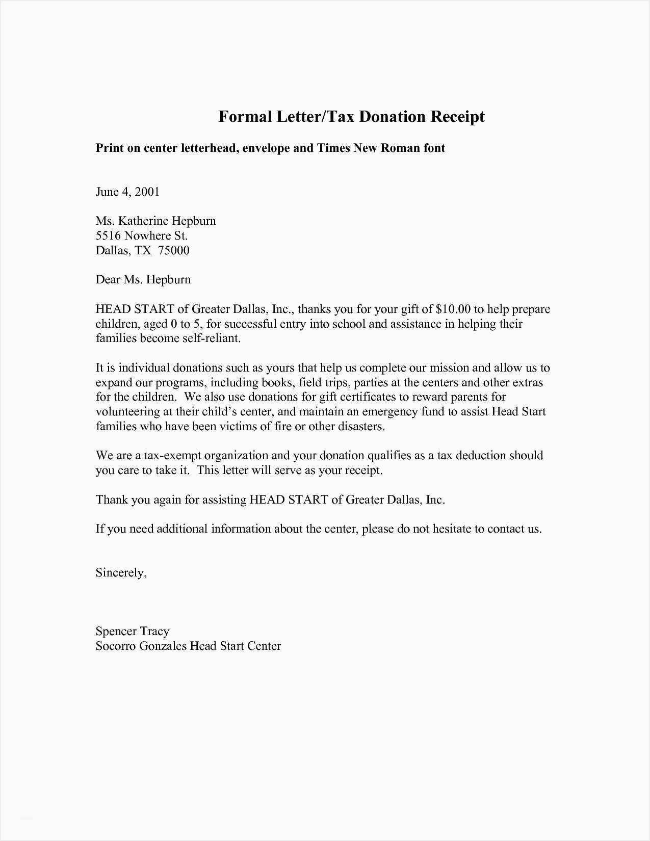 Letter Template For Charitable Donations