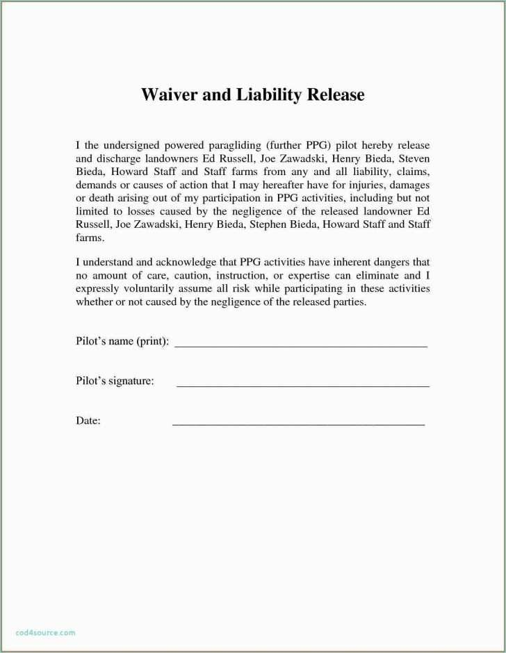 Liability Release Form Example