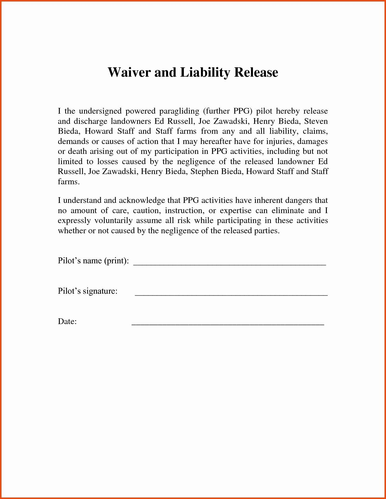 Liability Waiver Template Australia