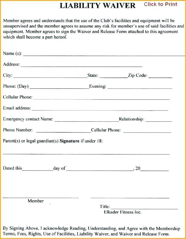 Liability Waiver Template Pdf