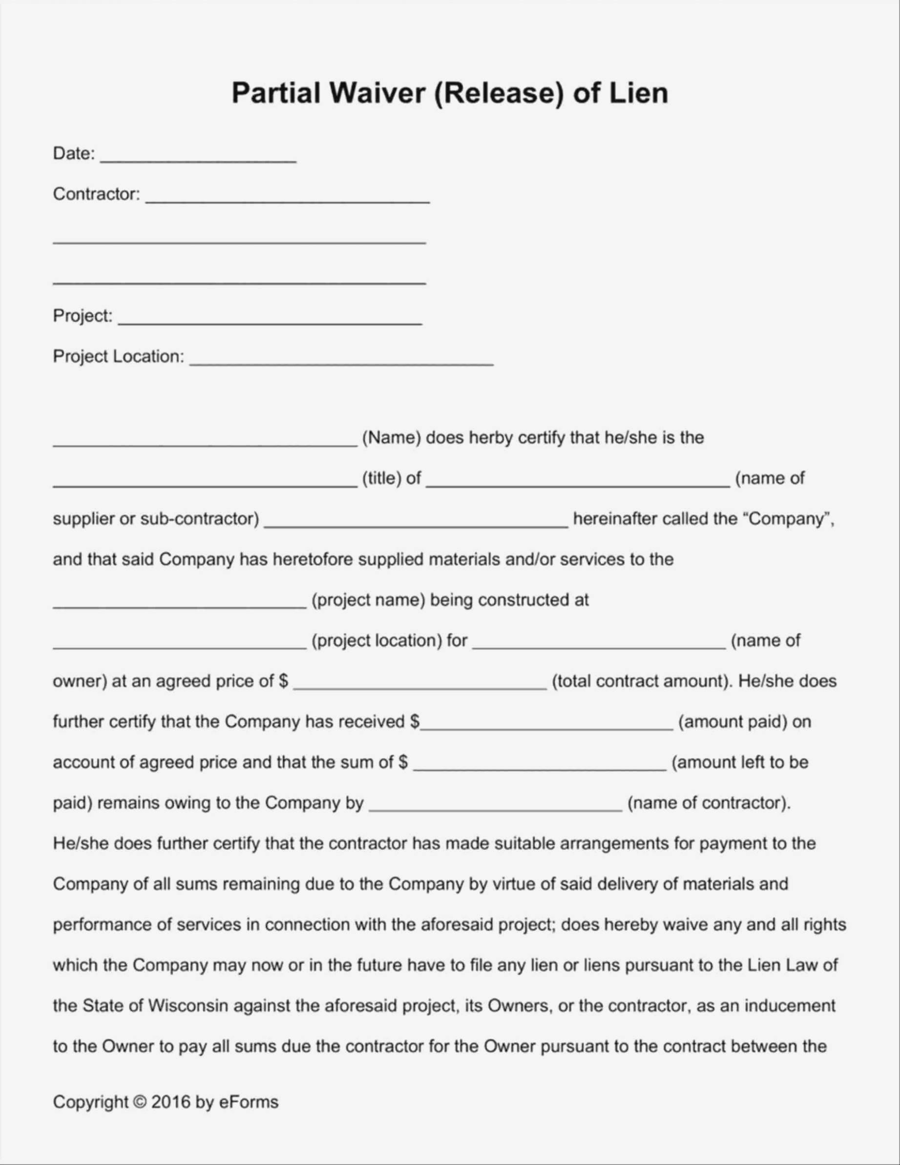Lien Release Form Template