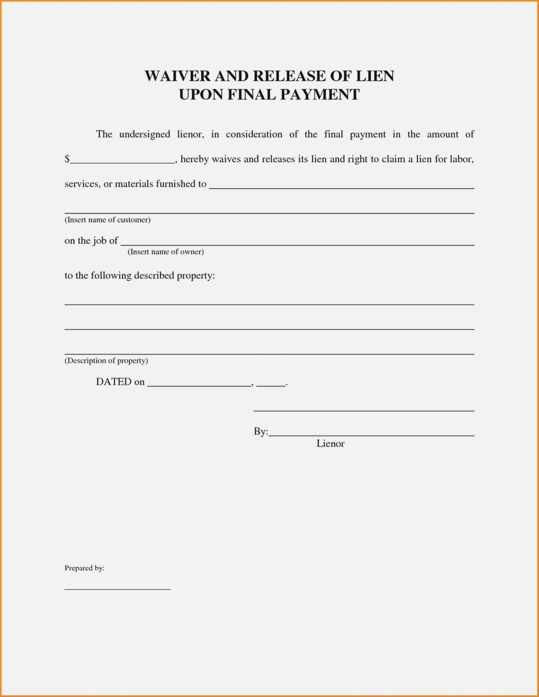 Lien Waiver Form Utah