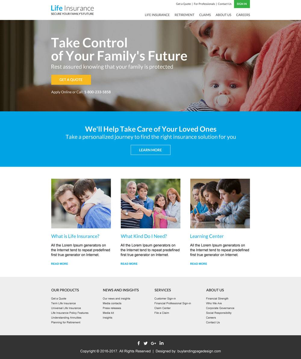 Life Insurance Website Templates