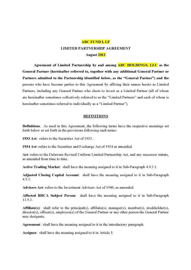 Limited Partnership Agreement Template Delaware